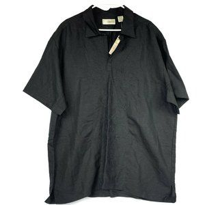 Cubavera Black Embroidered Linen Polo Lawn Shirt